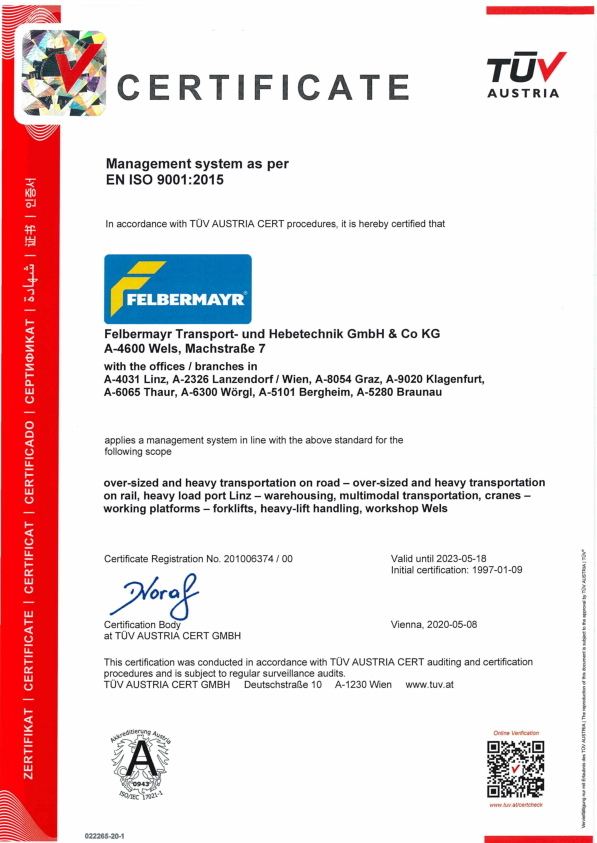 ISO 9001:2015 (Felbermayr Transport- und Hebetechnik GmbH & Co KG)