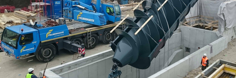Kleinwasserkraftwerk auf der Donauinsel errichtet Slider