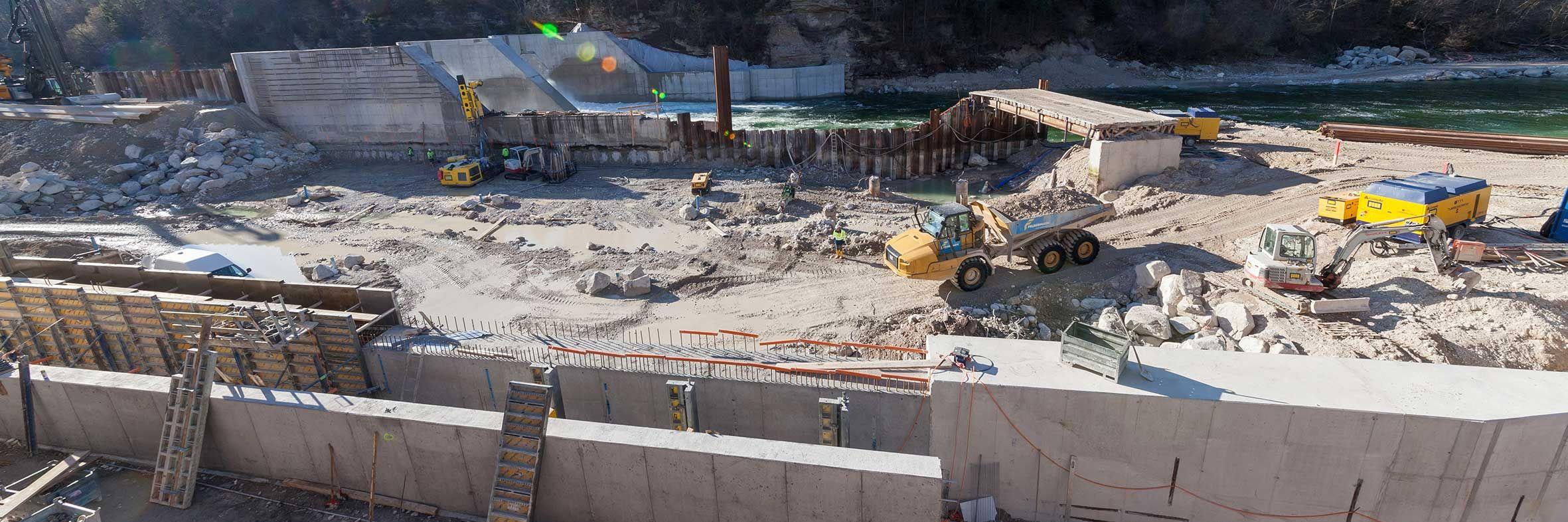 Kraftwerksbau an der Traun Slider